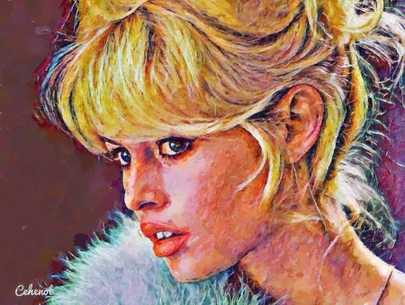 Brigitte Bardot - art, blonde, by cehenot, cehenot, woman, girl, actress, Brigitte Bardot, painting, face, pictura, portrait, fur