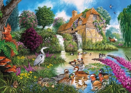 Magic Mill - flowers, puzzle, birds, mill