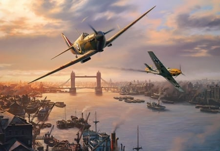 Spitfire Skirmish - ww2, fighter, battle, london, thames, tower bridge, world war, spitfire, river