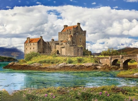 Eilean Donan Castle - water, bridge, fortress, scotland, castle