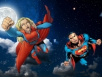 Supergirl & Superman at Night