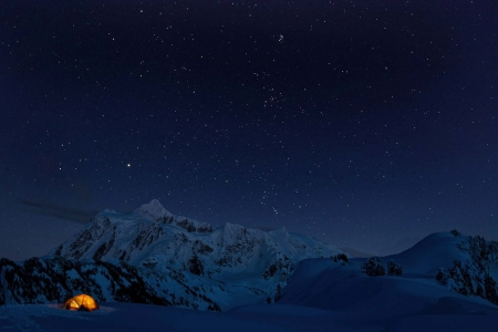 Winter Camping in the Mountains - stars, snow, mountains, camping, winter
