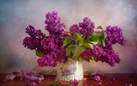 Lilacs - lilac, still life, green, bouquet, liliac, vase, spring, pink