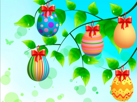 Easter Eggs - Easter, leaves, Easter eggs, eggs, Spring, branches, bows