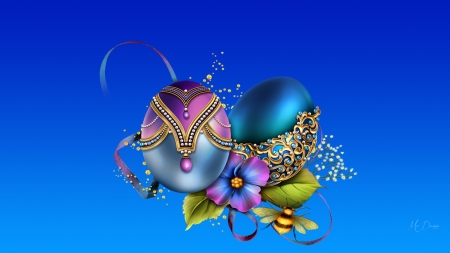 Fancy Decorated Eggs - bumble bee, blue gradient, spring, Easter, decorated, flowers, beads, Firefox Persona theme, shiny