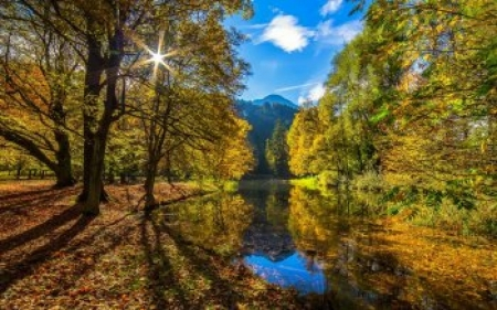 Autumn Landscapes in the Tyrol - forest, autumn, sun, tyrol, sky, trees, lake, Nature, landscape