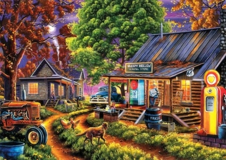The General Store - moons, colorful, architecture, fall season, autumn, houses, love four seasons, attractions in dreams, stores, paintings