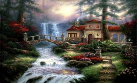 paradise place - art, colorful, paintings, houses, beauty, trees, waterfalls