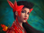 Exotic Woman with Red Flowers