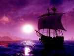 Purple Moonlight Sailing