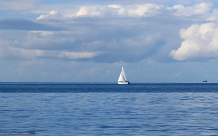 Sailboat - sailboat, sea, blue, clouds, yacht, white