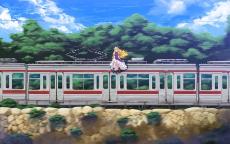 touhou - touhou, tree, train, girl