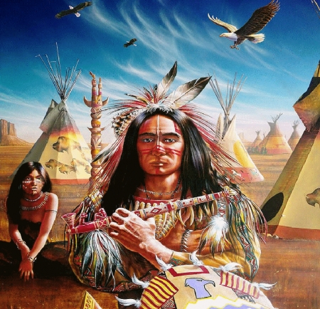 Americans - eagles, painting, natives, feathers, wigwam