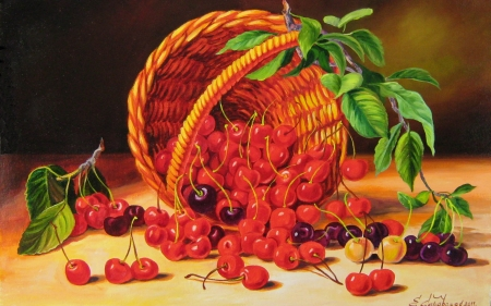 Cherries - signed, fruit, red, art, green, painting, pictura, cherry