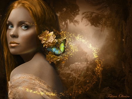 Golden-path - gold, female, butterfly, beautiful, woman, looking