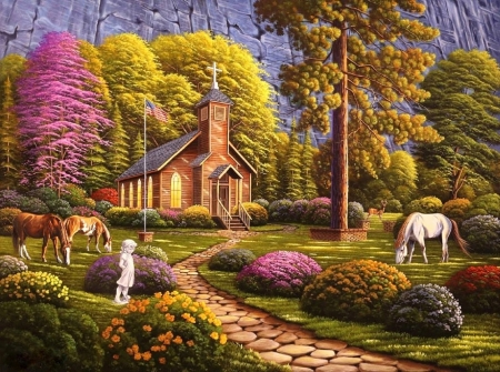 Morning Service, 2018 - architecture, love four seasons, spring, attractions in dreams, paintings, walkway, churches, chaple, flowers, garden