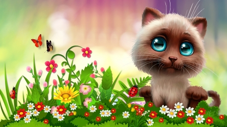 Kitty in the Garden - kitty, summer, flowers, garden, spring, cat, kitten, Firefox Persona theme
