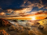 Sunrise over Rocky Sea