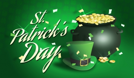 St. Patrick's Day - Saint Patricks Day, confetti, pot, coins, pot of gold, hat, top hat, St Patricks Day, gold, Patricks Day