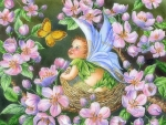 -Dogwood Baby Fairy in Nest-