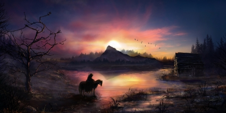 Warrior Coming Home - Warrior, Coming, Sunset, Horse, Land, Steampunk, House, Home