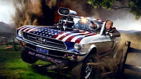 Making America Great . . - Trump, mustang, fantasy, NRA, Americana, ford, pistols, funny, presidents