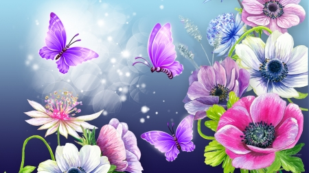 Florals Purple Butterflies
