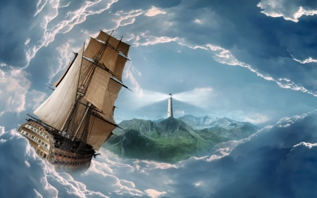 sails in a storm - ocean, tallship, land, storm, lighthouse