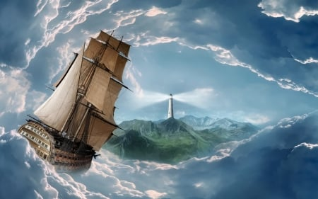 sails in a storm - land, ocean, tallship, storm, lighthouse