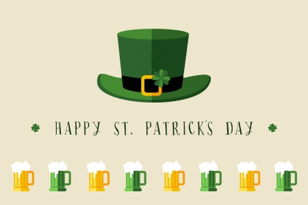 Happy St. Patrick's Day - top hat, clovers, St Patricks Day, Saint Patricks Day, shamrocks, beer, Patricks Day, hat