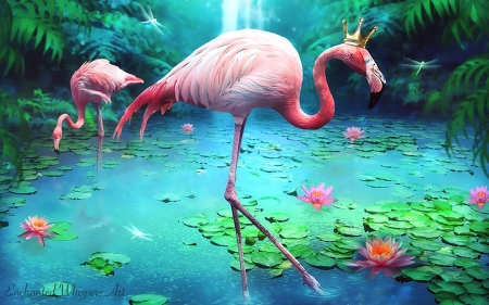 Flamingo Sanctuary - lovely, water, sanctuary, waterfall, digital, Flamingos, nature, tropical, pink