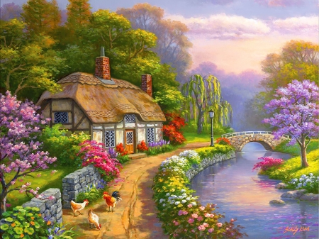 Willow Glen - colorful, pretty, house, cottage, beautiful, picturesque, countryside, bridge, willow, village, painting, river, rural, art, rustic, lovely, Sung Kim, creek, peaceful, blossoms, flowering, blooming