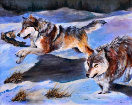 Hunters - wolves, snow, running, winter, painting