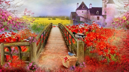 Spring Blossoms - rape, duck, cottage, basket, poppies, painting, flowers, path