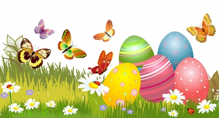 Easter Eggs ~ Spring Butterflies - grass, Easter, butterflies, Easter eggs, flowers, Spring, eggs, ladybugs