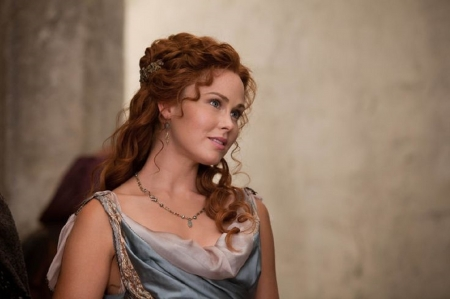 Anna Hutchison - grey and white, roman, dress, earrings, necdklace, headband, red curly hair
