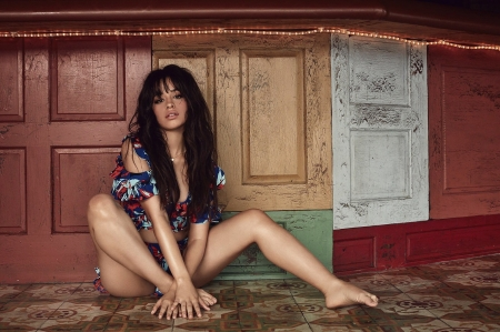 Camila Cabello - brunette, multi coloured, necklace, twp piece outfit, sitting on floor