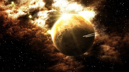Planet Flyby - planets, 3d, space, digital art, galaxies