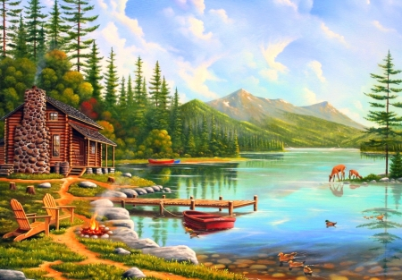 Simple Living - lakes, love four seasons, spring, attractions in dreams, sky, clouds, countryside, fire, boats, paintings, mountains, summer, chairs, nature, cabins