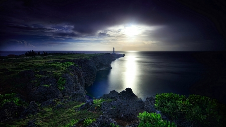 Cape Zanpa Lighthouse at Night - okinawa, night, sea, lighthouse, japan, coast, reflection, nature, sky