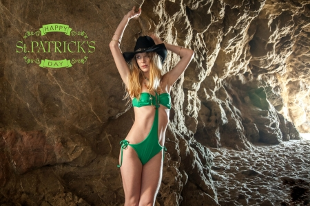 Happy St. Patrick's Day - model, cowgirl, cave, bikini