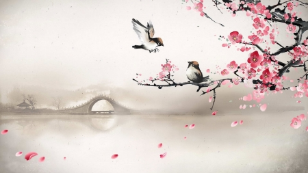 Spring - sakura, art, luminos, pasare, black, branch, blossom, fantasy, bird, painting, flower, sparrow, chinese, pictura, pink