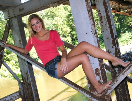 Cowgirl Under A Bridge . . - style, belt buckle, models, ranch, daisy dukes, fun, women, western, female, blondes, cowgirl, outdoors