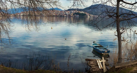 Lake of Kastoria in Greece - Greece, city, Lake, nature, Kastoria, water, blue, boat, landscape, beautiful, reflection