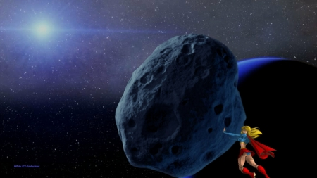 Supergirl Moves An Asteroid wallpaper - supergirl, hd, deviantart, space, desktop background, cartoon, asteroid, superman, 1920x1080 only, fan art, wallpaper, kara danvers, fanpop, dc comics