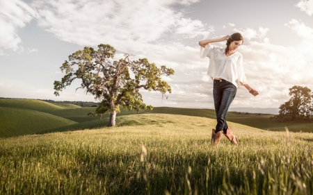 Carefree Day - hills, grass, boots, cowgirl, trees, sky, clouds, brunette, tree, fields, field