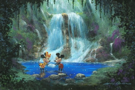Mickey and Minnie Mouse - art, james coleman, mickey mouse, vara, green, waterfall, painting, summer, minnie, pictura, couple, disney, blue