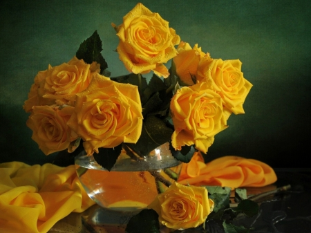 Still Life - fabric, flowers, yellow, vase, drops, petals, roses