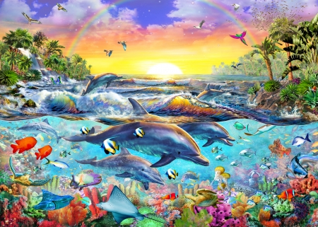Dolphins - red, colorful, art, luminos, fish, yellow, sunset, dolphin, fantasy, water, vara, adrian chesterman, summer, blue