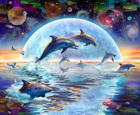 Dolphins by moonlight - luminos, luna, sea, dolphin, fantasy, moon, water, adrian chesterman, reflection, blue